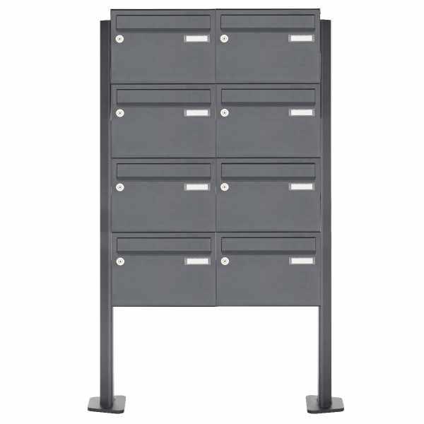 8er 4x2 Edelstahl Standbriefkasten Design BASIC Plus 385XP220 ST-T - RAL nach Wahl