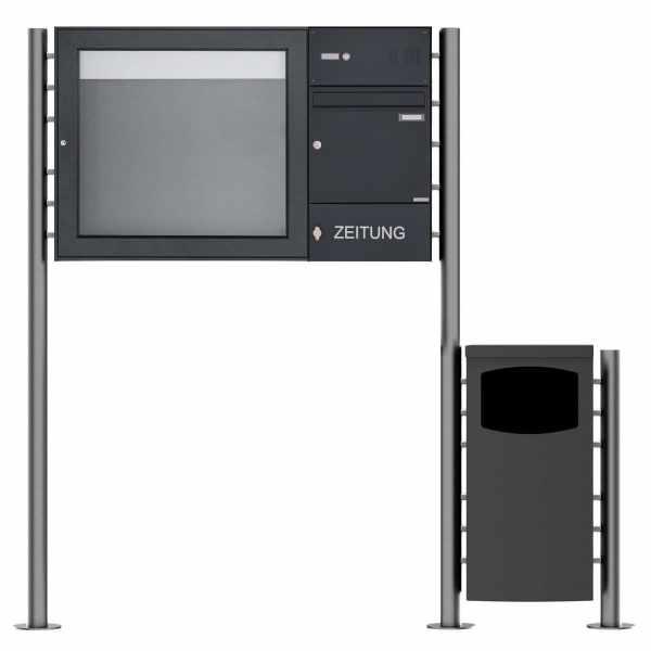 1er Standbriefkasten Design BASIC 381 ST-R mit Abfallbehälter & Schaukasten - RAL 7016 anthrazitgrau