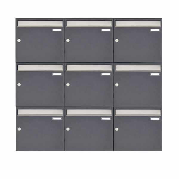9er 3x3 Aufputz Briefkastenanlage Design BASIC 382 AP - Edelstahl-RAL 7016 anthrazitgrau