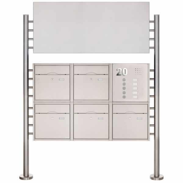 5er 2x3 Standbriefkasten PREMIUM BIG aus Edelstahl gebürstet mit Klingeltableau und Werbeschild