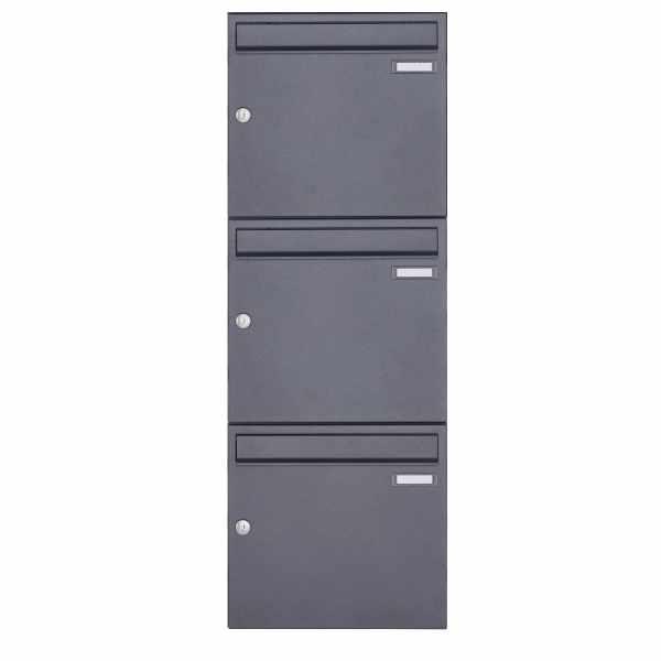 3er 3x1 Aufputz Briefkasten Design BASIC 382A AP - DB703 eisenglimmer