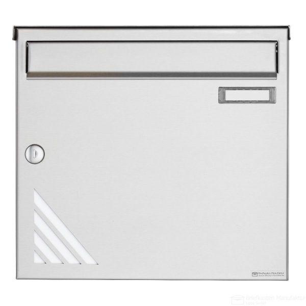 Edelstahl Briefkasten BASIC 630 Vertigo Design mit Regendach