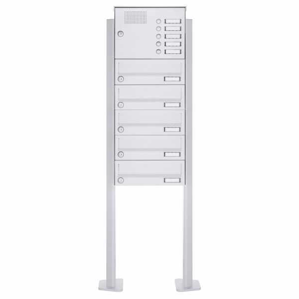5er Standbriefkasten Design BASIC 385P-9016 ST-T mit Klingelkasten - RAL 9016 verkehrsweiß