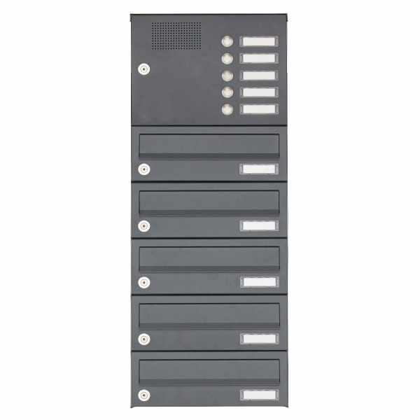5er Aufputz Briefkastenanlage Design BASIC 385A AP mit Klingelkasten - RAL 7016 anthrazitgrau