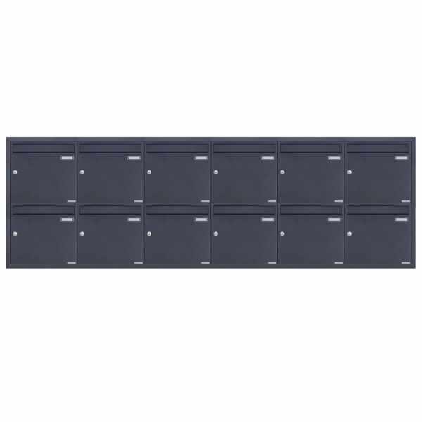12er 6x2 Edelstahl Unterputz Briefkastenanlage BASIC Plus 382XU UP - RAL nach Wahl - 12 Parteien