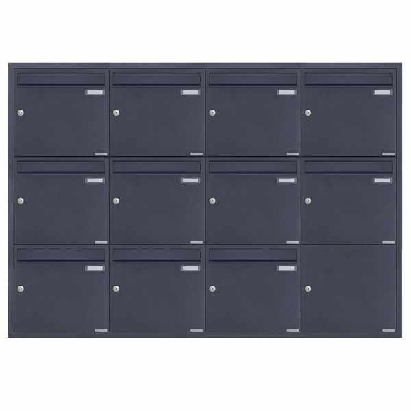 11er 4x3 Edelstahl Unterputz Briefkastenanlage BASIC Plus 382XU UP - RAL nach Wahl - 11 Parteien