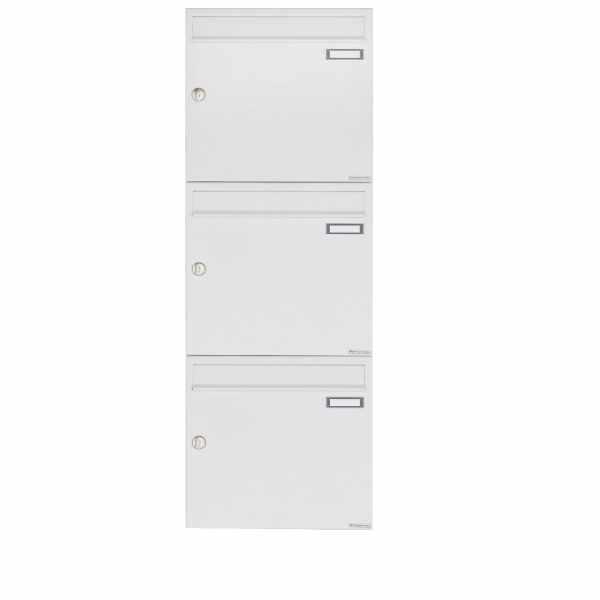3er 3x1 Aufputz Briefkastenanlage Design BASIC 382A AP - RAL 9016 verkehrsweiß
