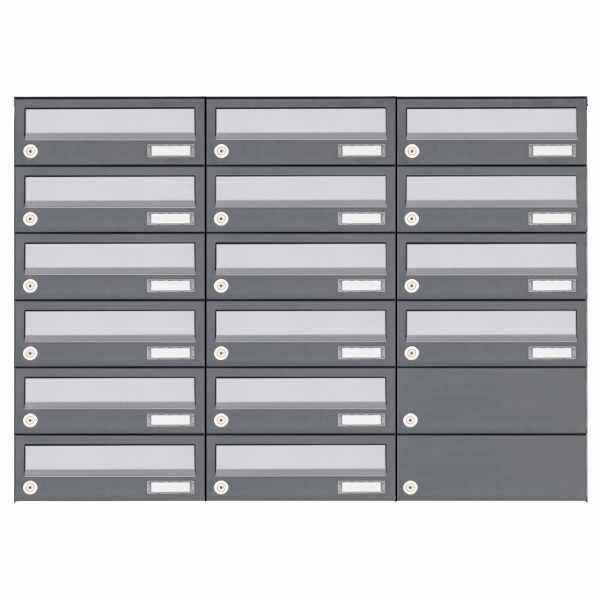 16er 6x3 Aufputz Briefkastenanlage Design BASIC 385A AP - Edelstahl-RAL 7016 anthrazit