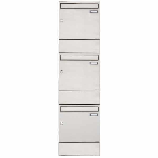 3er 3x1 Edelstahl Aufputz Briefkasten BASIC 382A AP mit Zeitungsfach