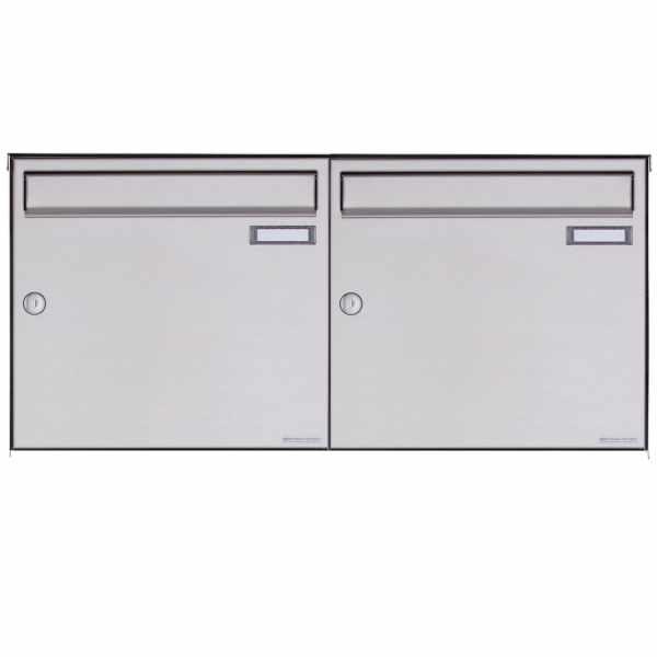 2er 1x2 Edelstahl Aufputz Briefkasten Design BASIC Plus 382XA AP - Edelstahl V2A geschliffen