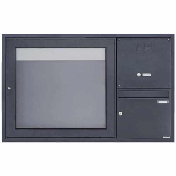 Unterputz Briefkasten mit Klingelkasten & Schaukasten BASIC Plus 389 UP - 710x660 - RAL nach Wahl