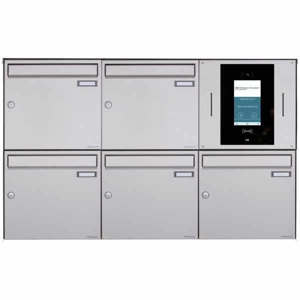 5er 3x2 Aufputzbriefkasten BASIC Plus 382XA AP - Edelstahl geschliffen - STR Digitale Türstation