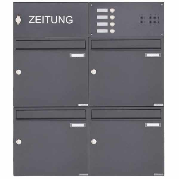 4er Aufputz Briefkasten Design BASIC 382A AP mit Klingelkasten & 1x Zeitungsfach- RAL 7016 anthrazit