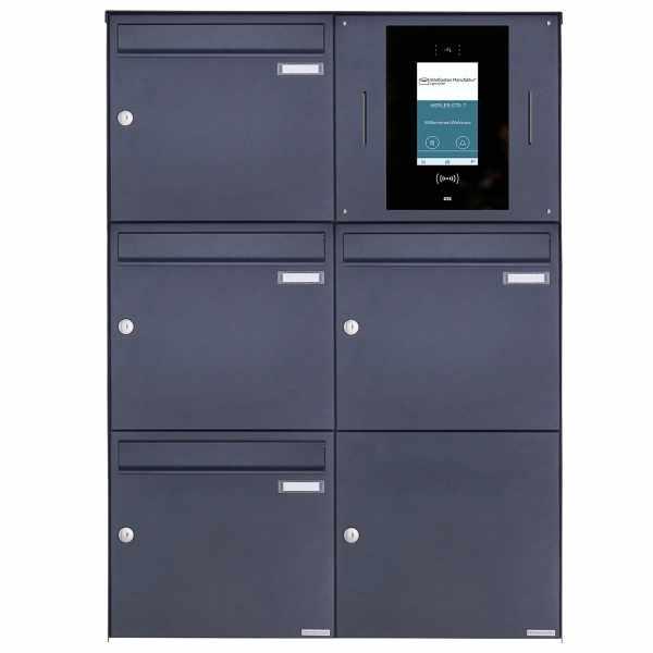 4er 2x3 Edelstahl Aufputzbriefkasten BASIC Plus 382XA AP - RAL - STR Digitale Türstation Komplettset