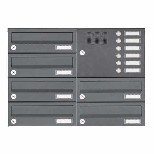 6er Aufputz Briefkastenanlage Design BASIC 385A AP mit Klingelkasten - RAL 7016 anthrazitgrau