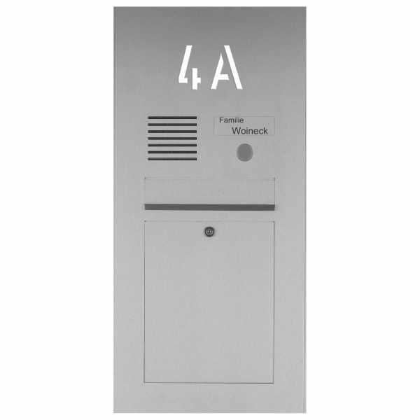 Edelstahl Briefkasten Designer mit Hausnummer, hinterbeleuchtet - INDIVIDUELL