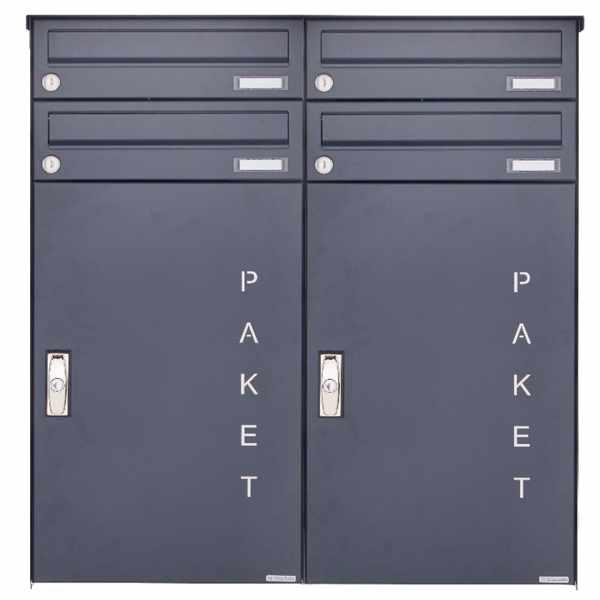 4er Aufputz Paketbriefkasten BASIC 863 AP mit Paketfach 550x370 in RAL 7016 anthrazitgrau