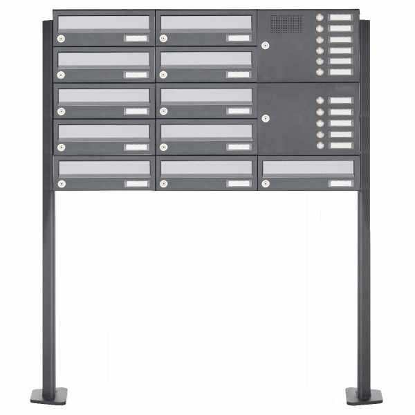 11er Standbriefkasten Design BASIC 385P ST-T mit Klingelkasten - Edelstahl-RAL 7016 anthrazit