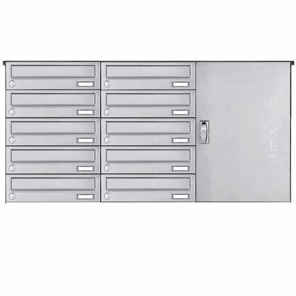 10er Edelstahl Aufputz Paketbriefkasten BASIC 863 AP mit Paketfach 550x370
