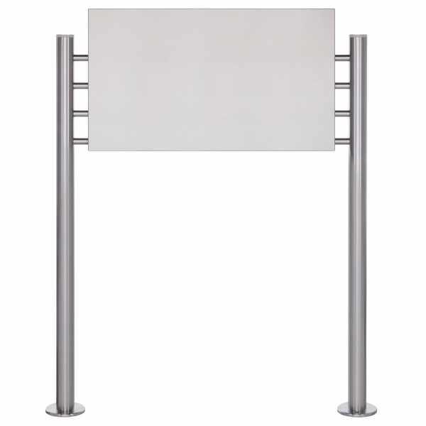 Schild freistehend BASIC 390ES - Edelstahl Standelemente - Edelstahlblech 800x457 einseitig