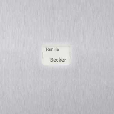 Namensschild DESIGNER aus Plexiglas, beleuchtet (weiß hinterlegt) 44x32mm
