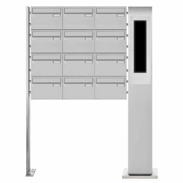12er Edelstahl Standbriefkasten BASIC Plus 385X220 ST-P - GIRA System 106 - 5-fach vorbereitet