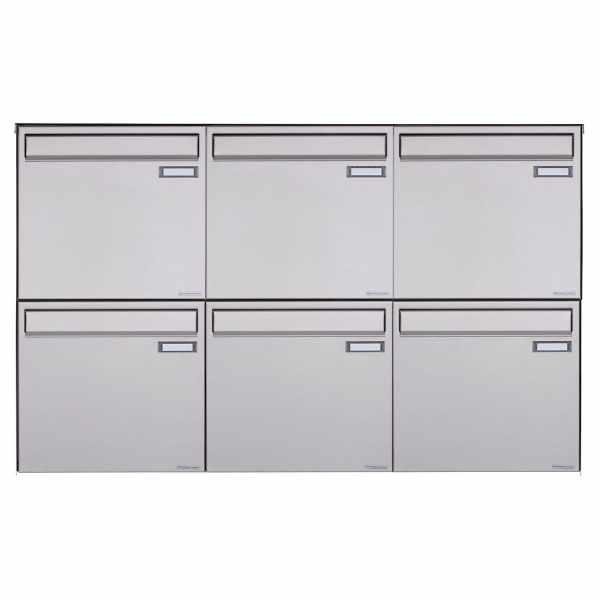 6er 2x3 Edelstahl Zaunbriefkasten BASIC Plus 382XZ - Entnahme rückseitig