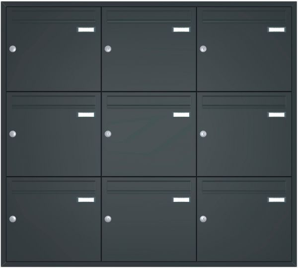 Unterputz Briefkastenanlage BASIC 534 UP pulverbeschichtet - 9 Parteien
