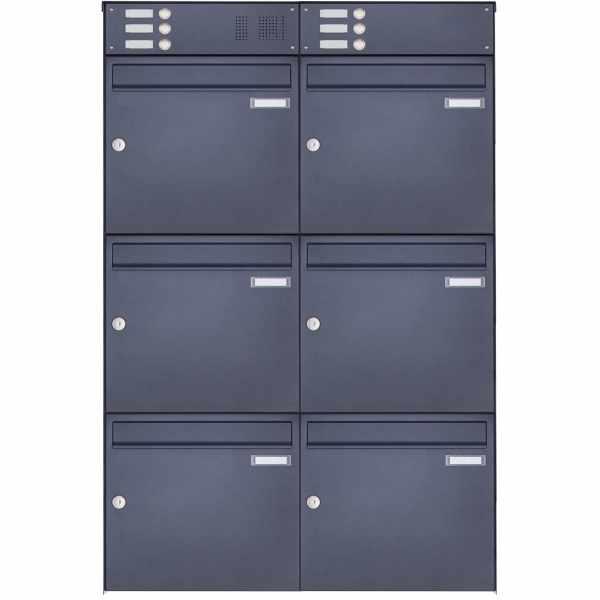 6er Edelstahl Aufputz Briefkasten Design BASIC Plus 382XA AP mit Klingelkasten- RAL nach Wahl