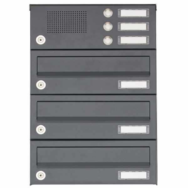 3er Aufputz Briefkastenanlage Design BASIC 385A AP mit Klingelkasten - RAL 7016 anthrazitgrau