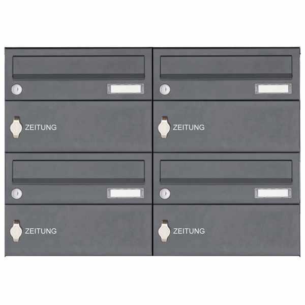 4er Edelstahl Aufputz Briefkastenanlage Design BASIC 385XA AP mit Zeitungsfach - RAL nach Wahl