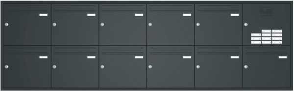 Unterputz Briefkastenanlage BASIC 534 - Pulverbeschichtet- Klingel- Sprechstelle - 11 Parteien