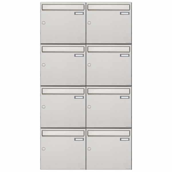 8er 4x2 Edelstahl Aufputz Briefkastenanlage Design BASIC 382A-AP