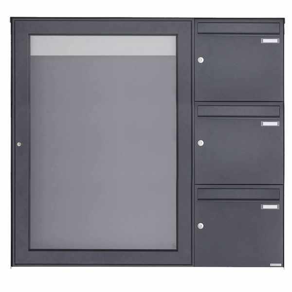 3er Aufputz Briefkasten mit Schaukasten BASIC Plus 389XA AP - 710x990 - RAL nach Wahl