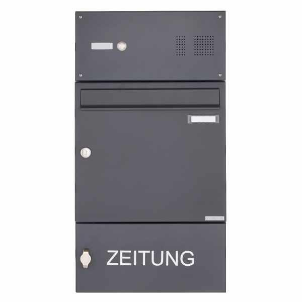 Aufputz Briefkasten Design BASIC 382A AP mit Klingelkasten & Zeitungsablagefach - RAL 7016 anthrazit