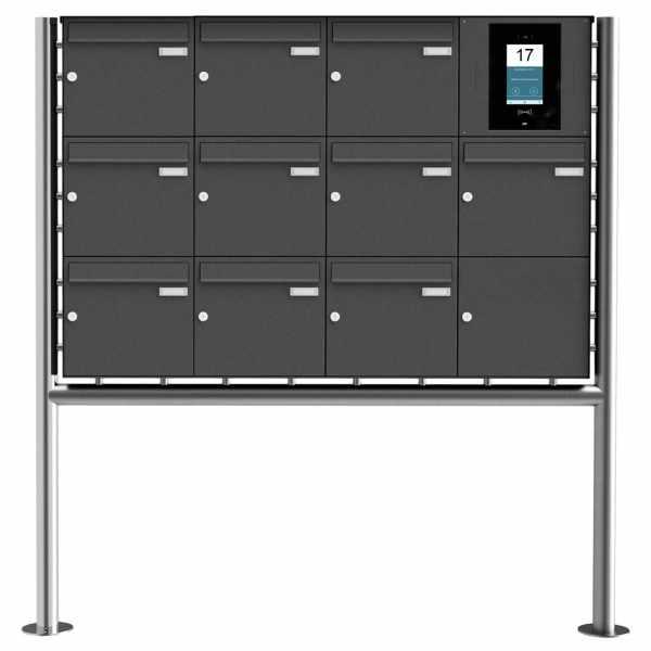 10er Edelstahl Standbriefkasten BASIC Plus 381X ST-R - RAL- STR Digitale Türstation - Komplettset
