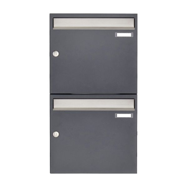 2er 2x1 Aufputz Briefkastenanlage Design BASIC 382 AP - Edelstahl-RAL 7016 anthrazitgrau