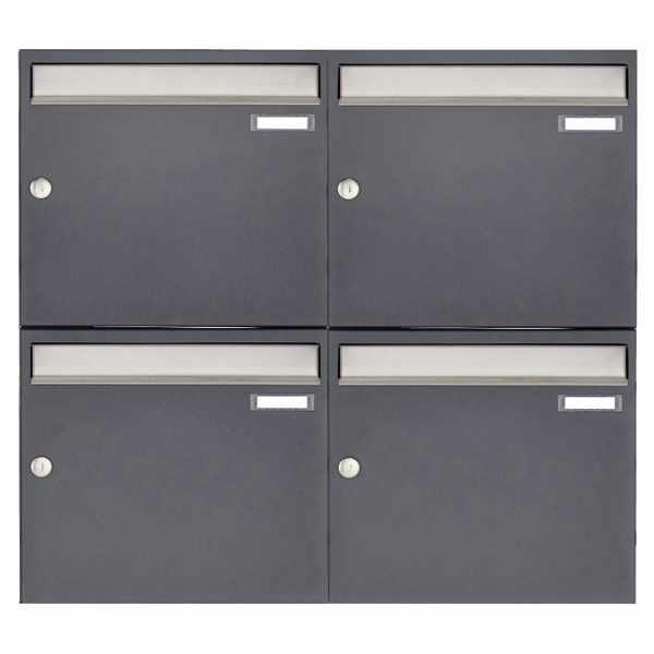 4er 2x2 Aufputz Briefkastenanlage Design BASIC 382 AP - Edelstahl-RAL 7016 anthrazitgrau