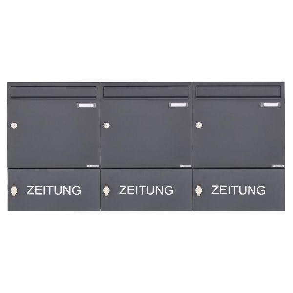 3er Aufputz Briefkasten Design BASIC 382A AP mit Zeitungsfach geschlossen - RAL 7016 anthrazitgrau