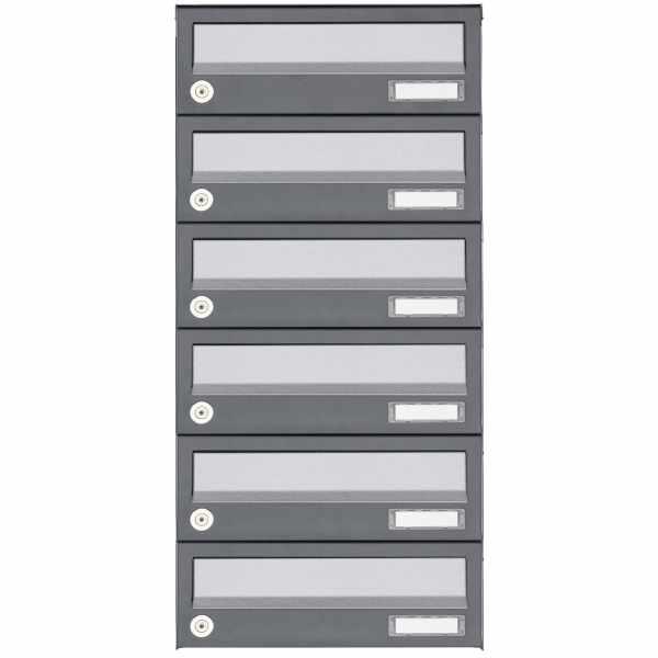 6er Aufputz Briefkastenanlage Design BASIC 385A AP - Edelstahl-RAL 7016 anthrazit