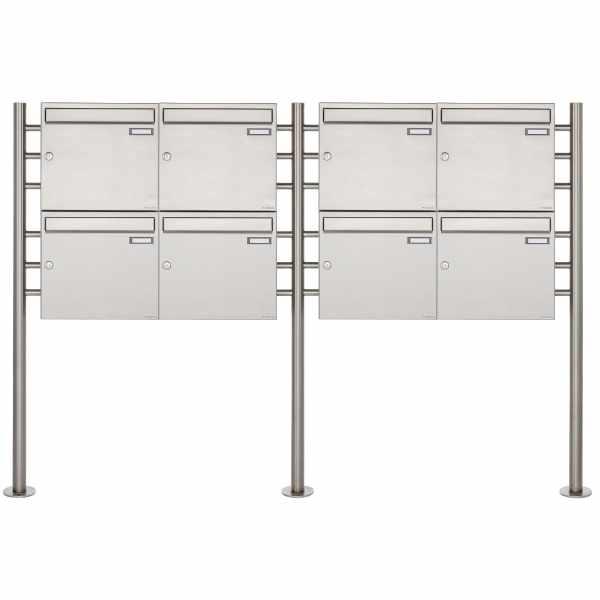 8er 2x4 Edelstahl Standbriefkasten Design BASIC 381 ST-R