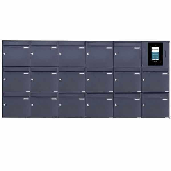 17er 6x3 Edelstahl Aufputzbriefkasten BASIC Plus 382XA AP - RAL nach Wahl - STR Digitale Türstation