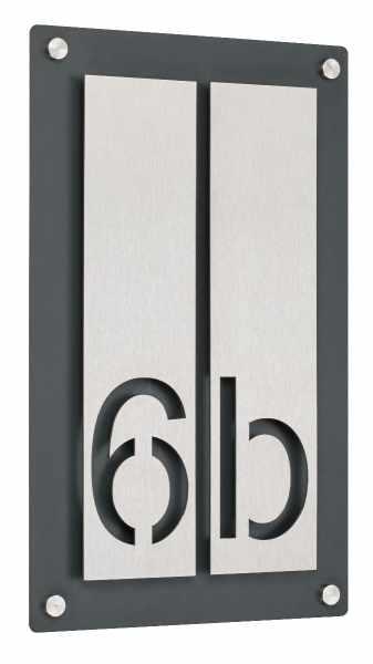 Hausnummer PREMIUM Design 691 - Grundplatte RAL Farbe - Hausnummer Edelstahl - 2-stellig
