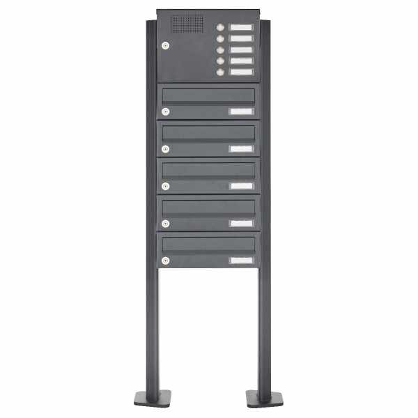 5er Edelstahl Standbriefkasten Design BASIC Plus 385XP ST-T mit Klingelkasten - RAL nach Wahl