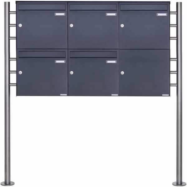 5er 2x3 Edelstahl Standbriefkasten Design BASIC Plus 381X ST R - RAL nach Wahl