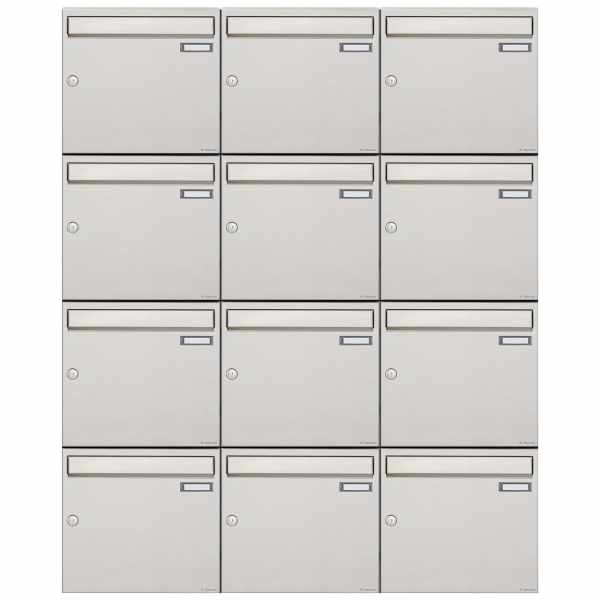 12er 4x3 Edelstahl Aufputz Briefkastenanlage Design BASIC 382A-AP