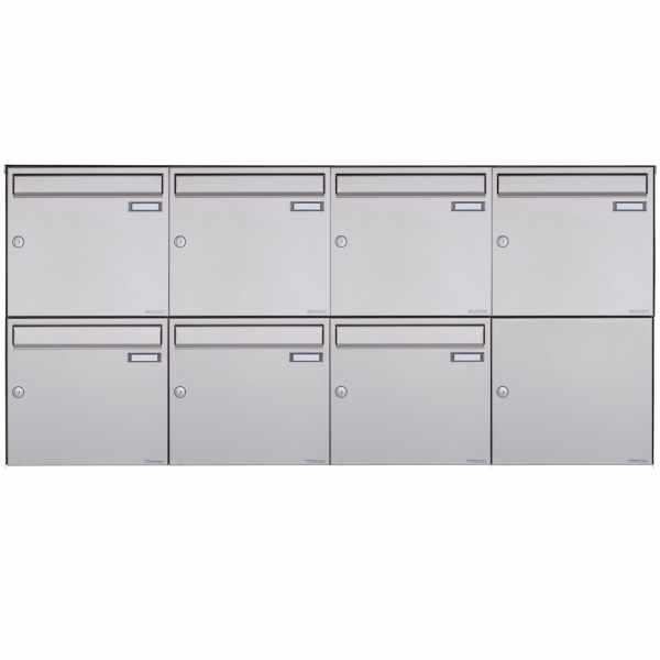 7er 2x4 Edelstahl Aufputz Briefkasten Design BASIC Plus 382XA AP - Edelstahl V2A geschliffen