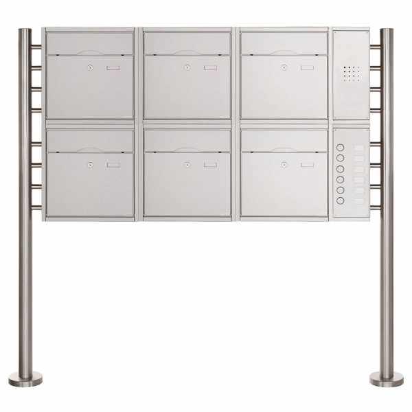 6er 2x3 Standbriefkasten PREMIUM BIG mit Klingeltableau aus Edelstahl geschliffen