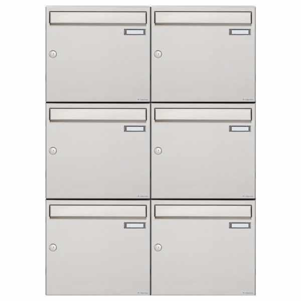 6er 3x2 Edelstahl Aufputz Briefkastenanlage Design BASIC 382A-VA - Senkrecht