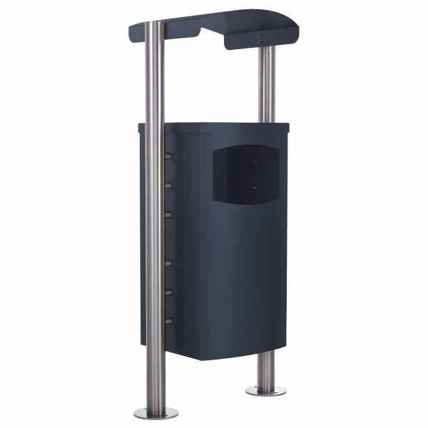 Abfalleimer - Abfallbehälter Design BASIC 650X mit Regendach - 45 Liter - RAL nach Wahl
